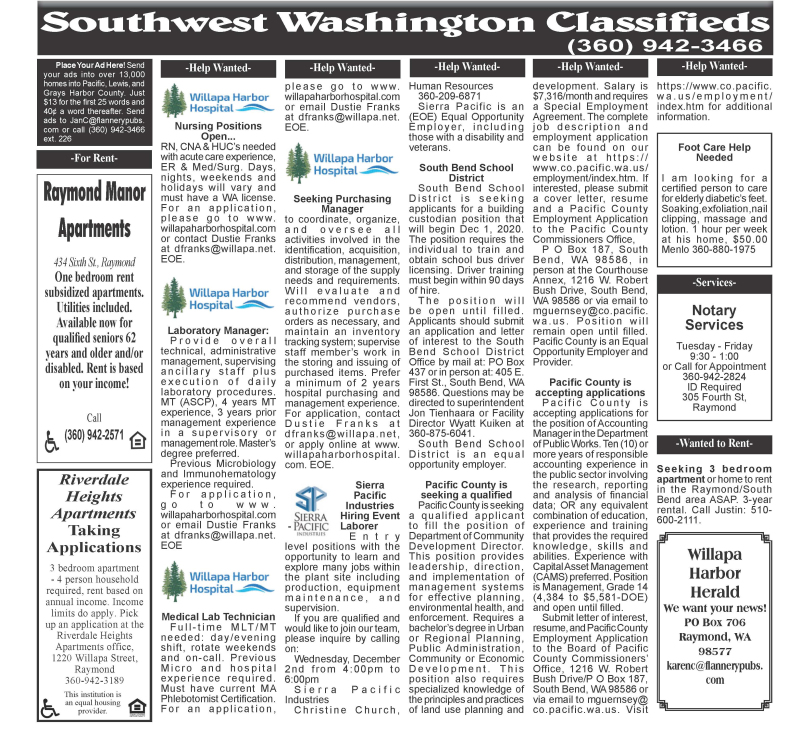 Classifieds 11.18.20