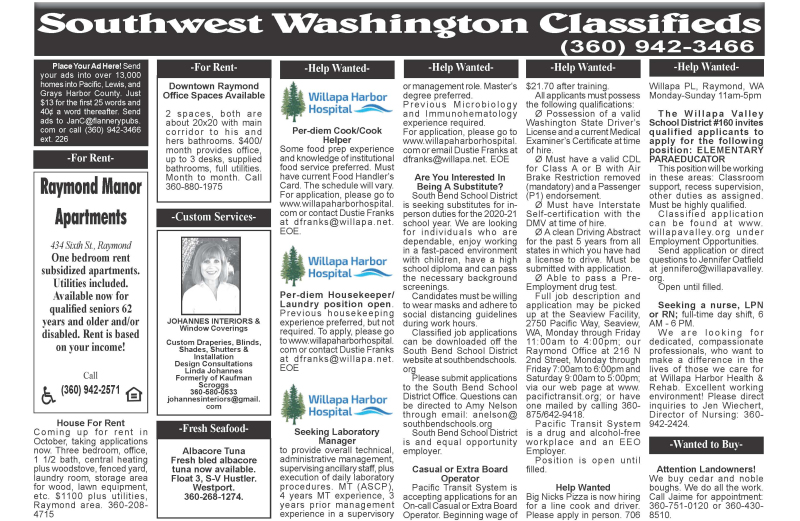 Classifieds 9.9.20