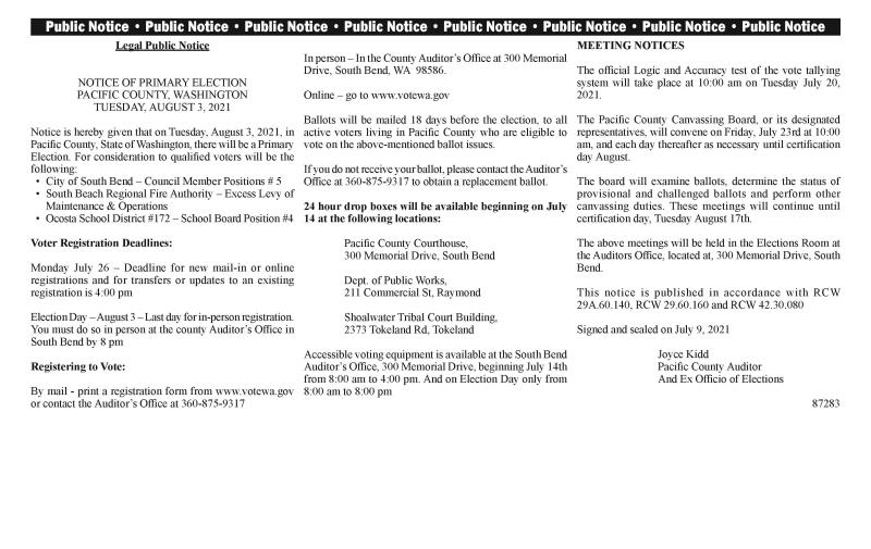 Legal Public Notice - Voting