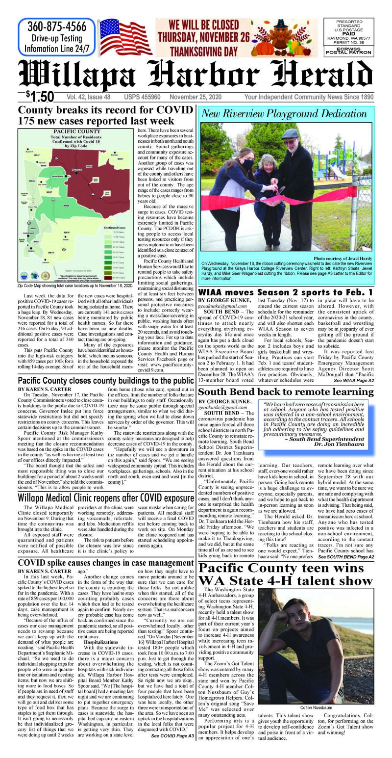 November 25, 2020 Willapa Harbor Herald and Pacific County Press