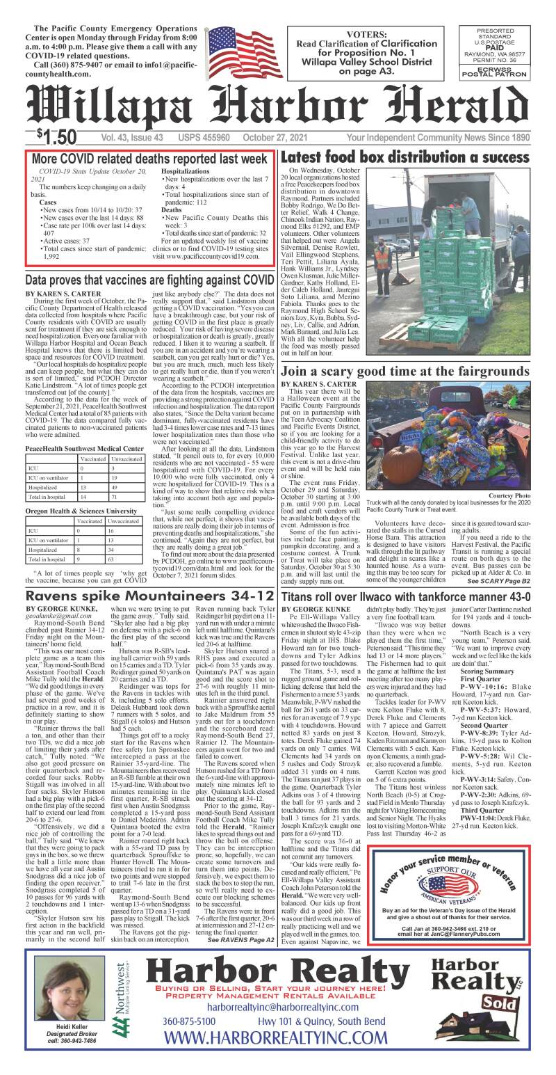 October 27, 2021 Willapa Harbor Herald and Pacific County Press