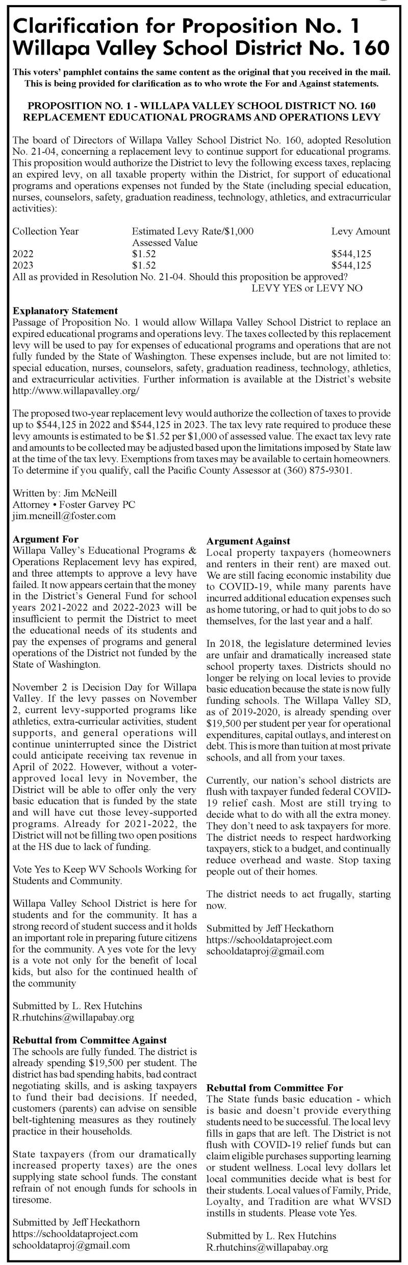 Clarification for Proposition No. 1  Willapa Valley School District No. 160